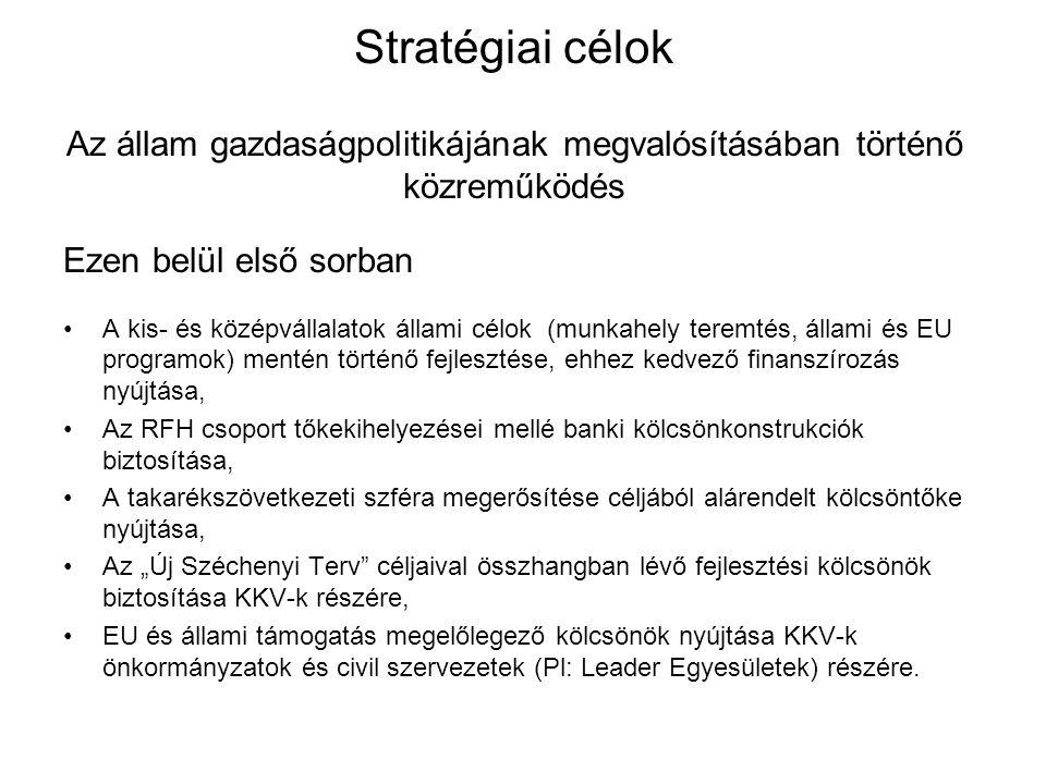 Stratégiai célok Az állam gazdaságpolitikájának megvalósításában történő közreműködés