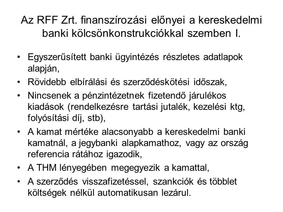 Az RFF Zrt. finanszírozási előnyei a kereskedelmi banki kölcsönkonstrukciókkal szemben I.