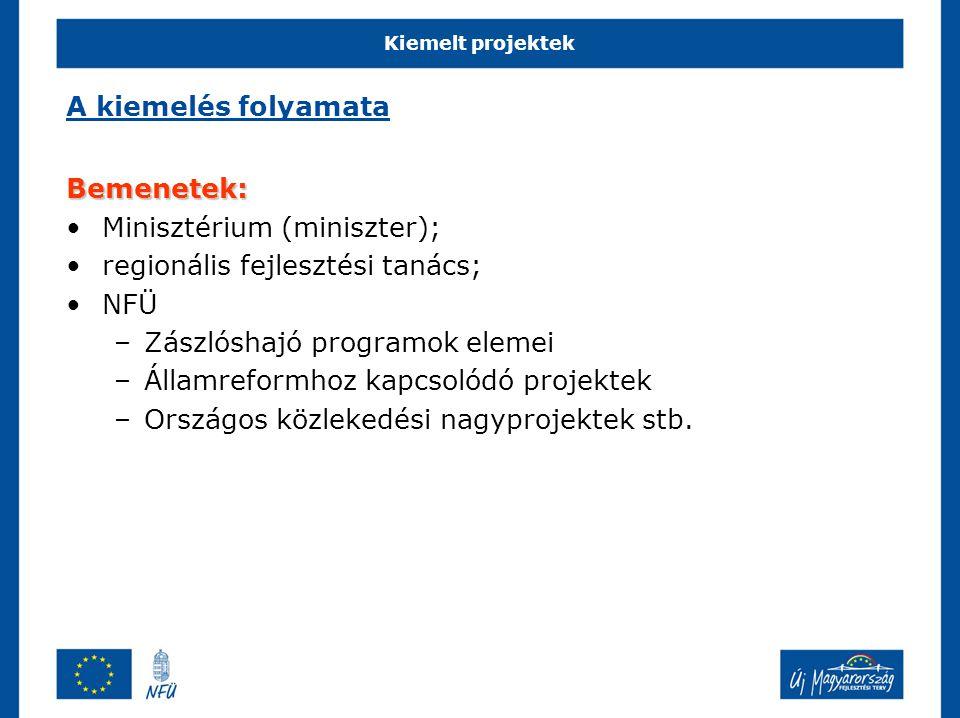 Minisztérium (miniszter); regionális fejlesztési tanács; NFÜ