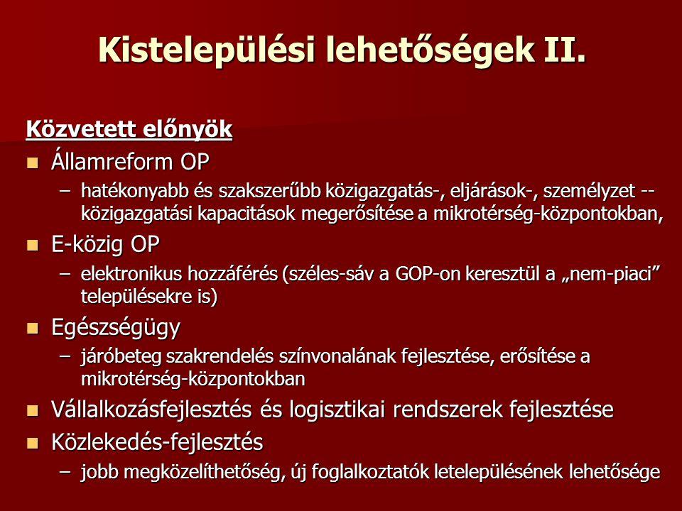 Kistelepülési lehetőségek II.