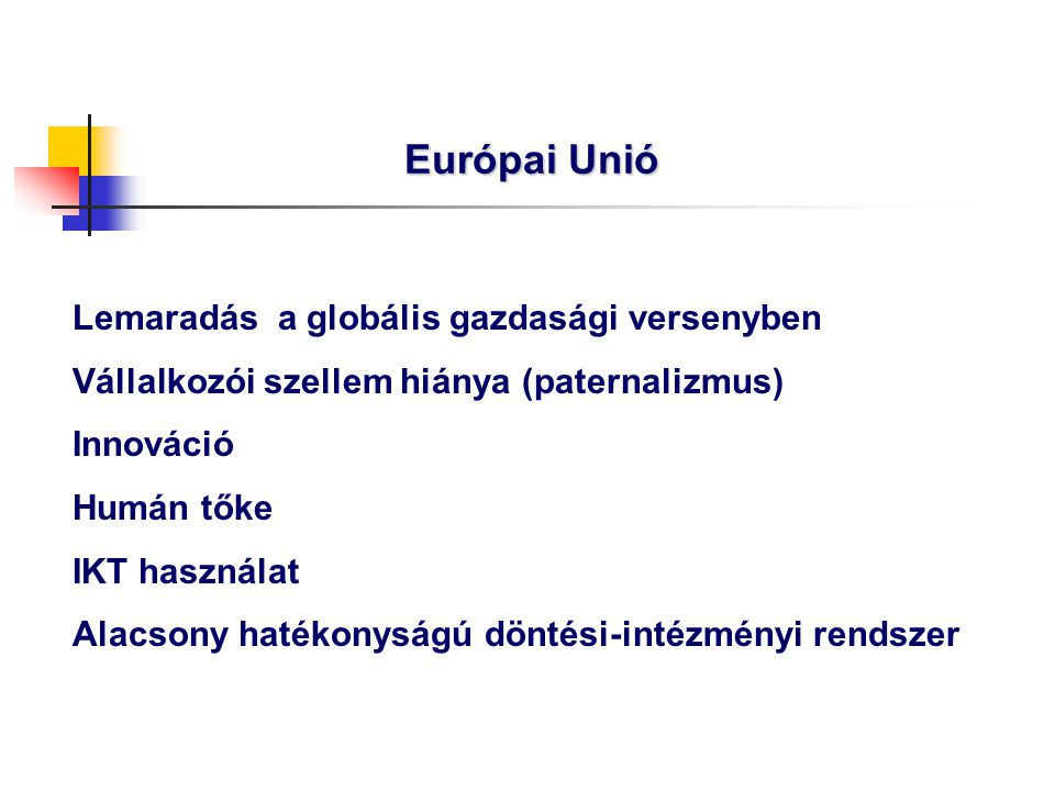 Európai Unió Lemaradás a globális gazdasági versenyben