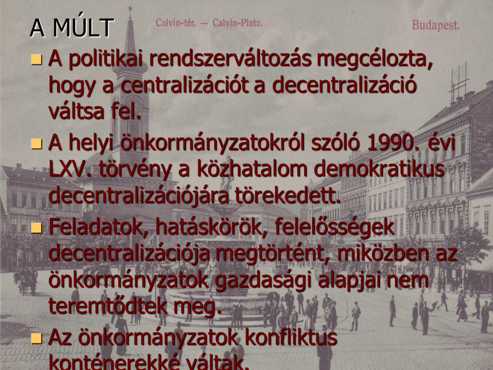 A MÚLT A politikai rendszerváltozás megcélozta, hogy a centralizációt a decentralizáció váltsa fel.