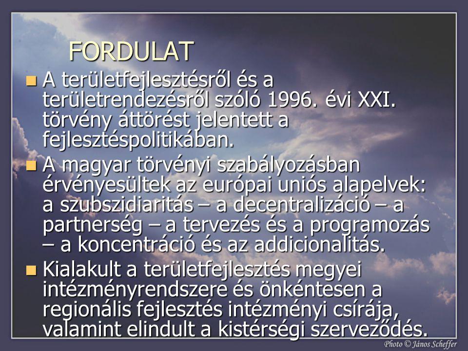FORDULAT A területfejlesztésről és a területrendezésről szóló 1996. évi XXI. törvény áttörést jelentett a fejlesztéspolitikában.
