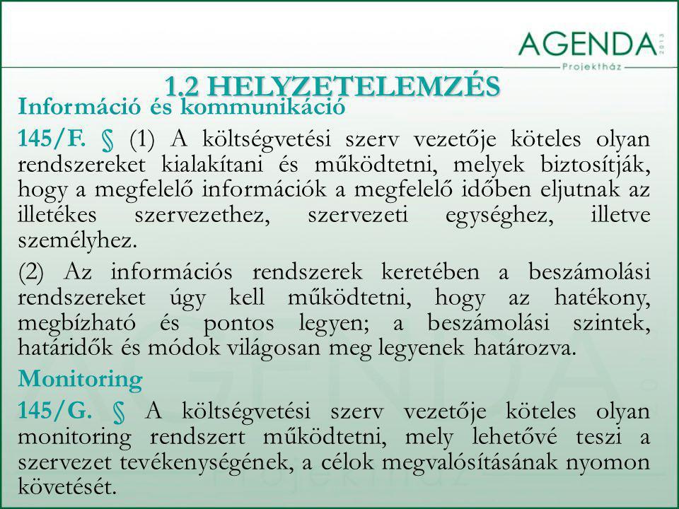 1.2 HELYZETELEMZÉS Információ és kommunikáció