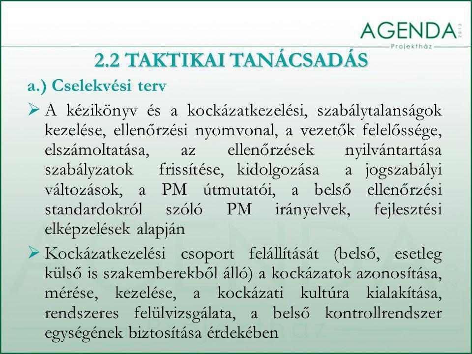 2.2 TAKTIKAI TANÁCSADÁS a.) Cselekvési terv