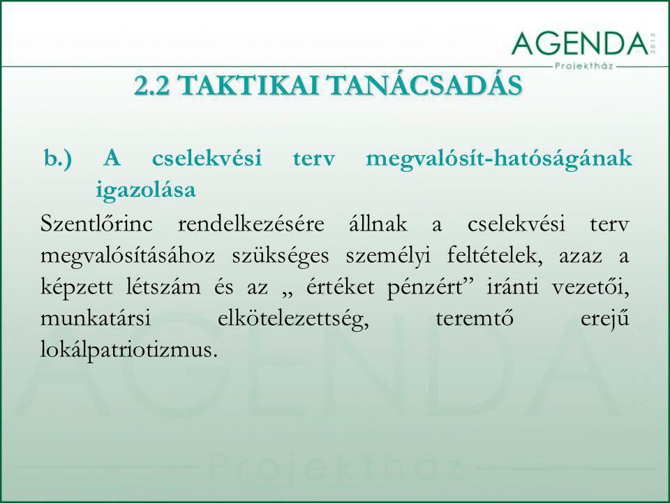 2.2 TAKTIKAI TANÁCSADÁS b.) A cselekvési terv megvalósít-hatóságának igazolása.