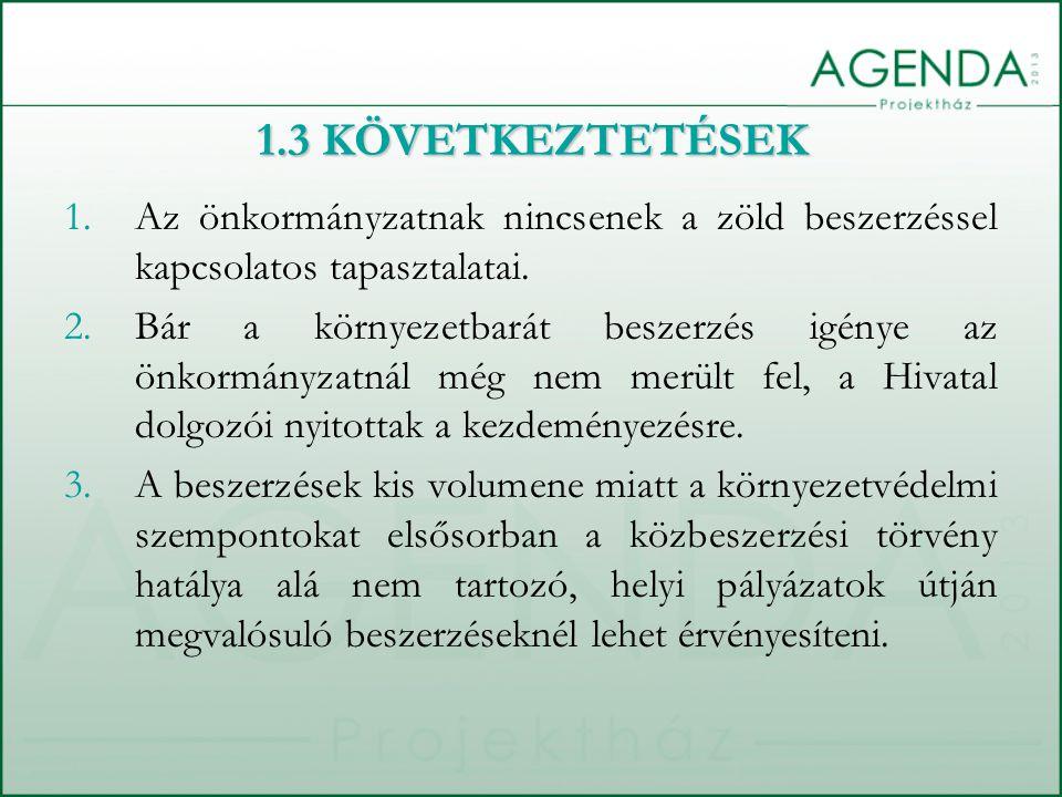 1.3 KÖVETKEZTETÉSEK Az önkormányzatnak nincsenek a zöld beszerzéssel kapcsolatos tapasztalatai.