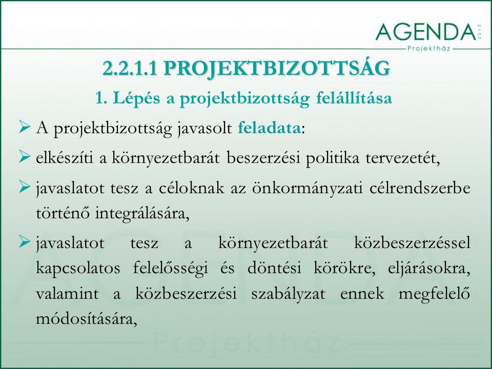 1. Lépés a projektbizottság felállítása