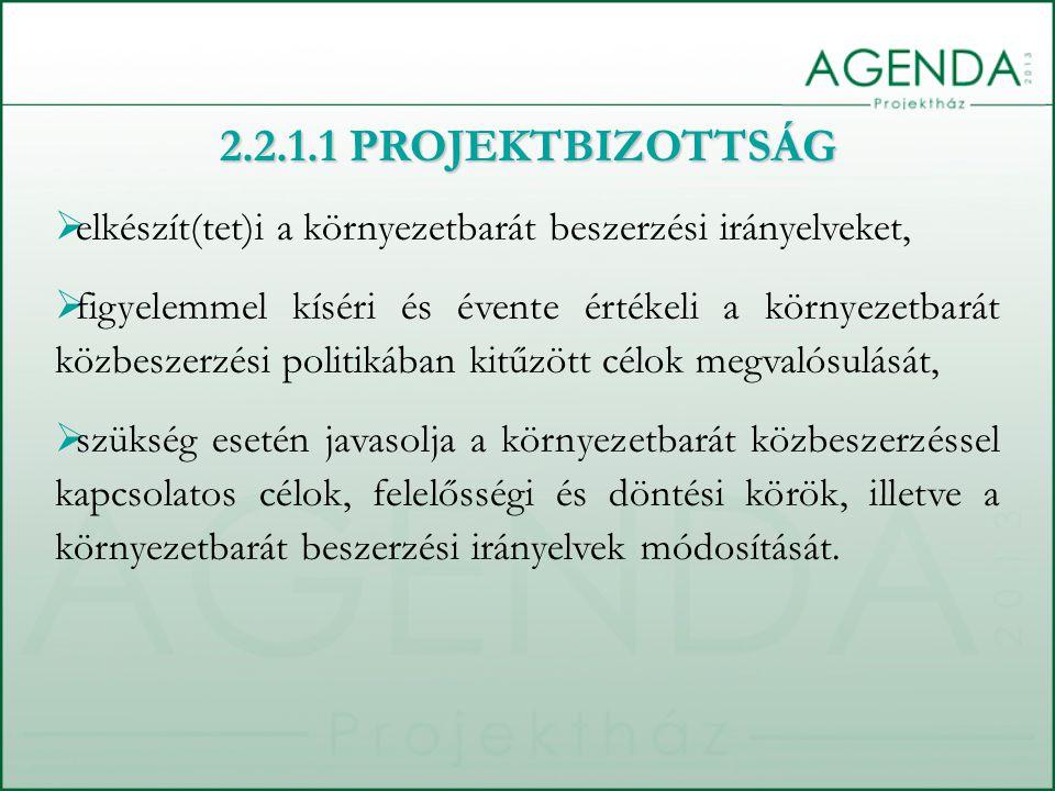 2.2.1.1 PROJEKTBIZOTTSÁG elkészít(tet)i a környezetbarát beszerzési irányelveket,