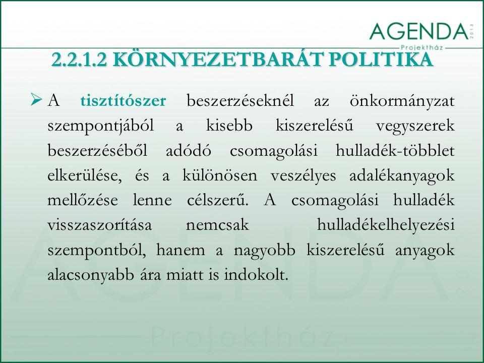 2.2.1.2 KÖRNYEZETBARÁT POLITIKA