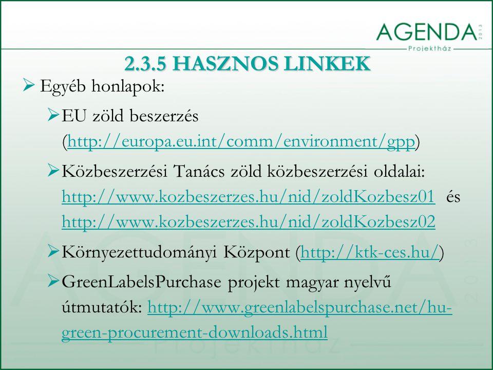 2.3.5 HASZNOS LINKEK Egyéb honlapok: