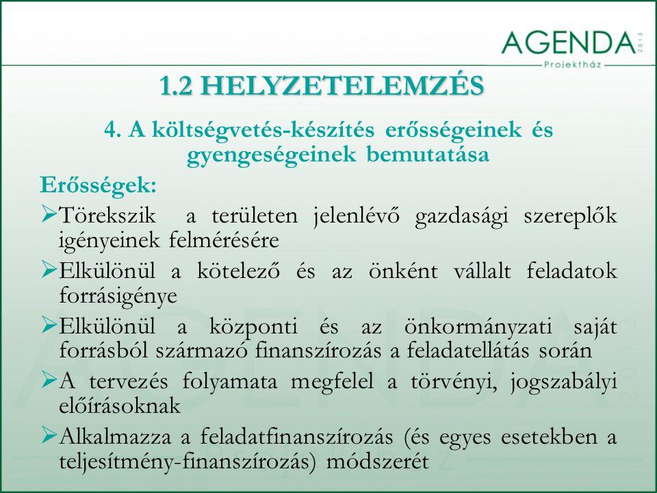 4. A költségvetés-készítés erősségeinek és gyengeségeinek bemutatása