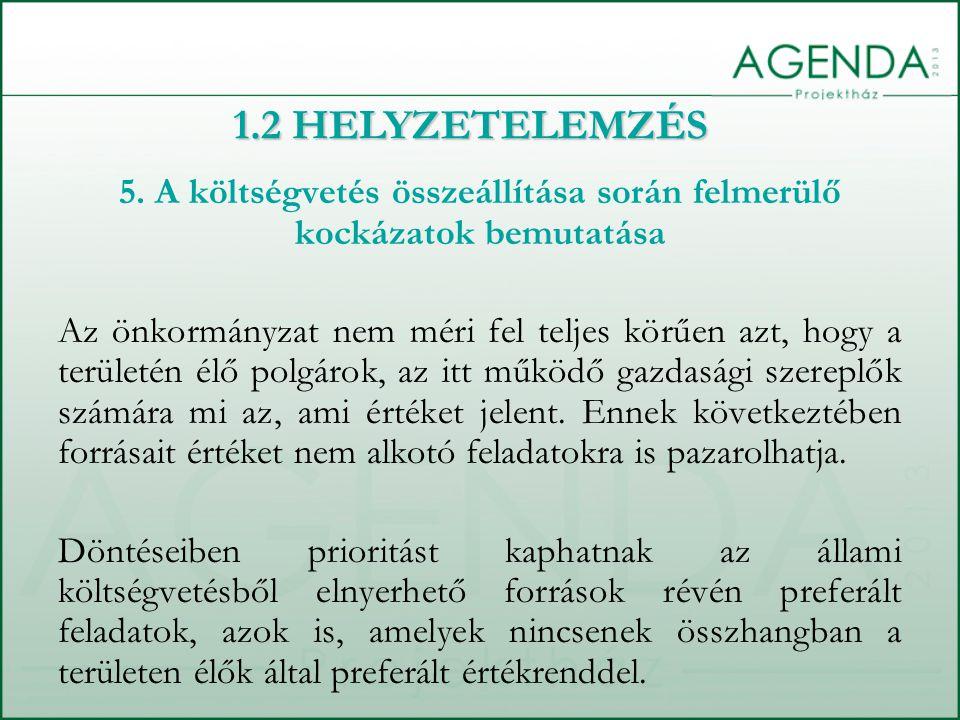 5. A költségvetés összeállítása során felmerülő kockázatok bemutatása