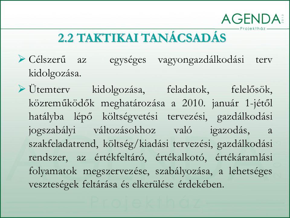 2.2 TAKTIKAI TANÁCSADÁS Célszerű az egységes vagyongazdálkodási terv kidolgozása.