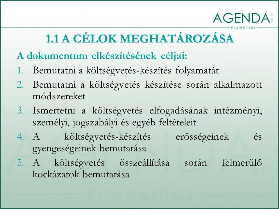 1.1 A CÉLOK MEGHATÁROZÁSA A dokumentum elkészítésének céljai: