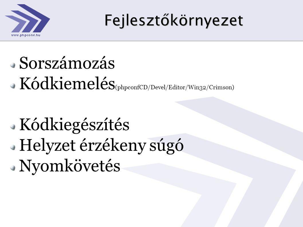 Kódkiemelés(phpconfCD/Devel/Editor/Win32/Crimson) Kódkiegészítés