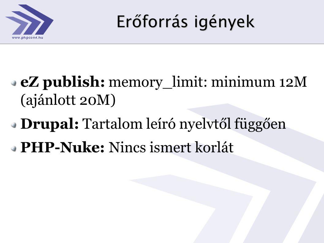 Erőforrás igények eZ publish: memory_limit: minimum 12M (ajánlott 20M)