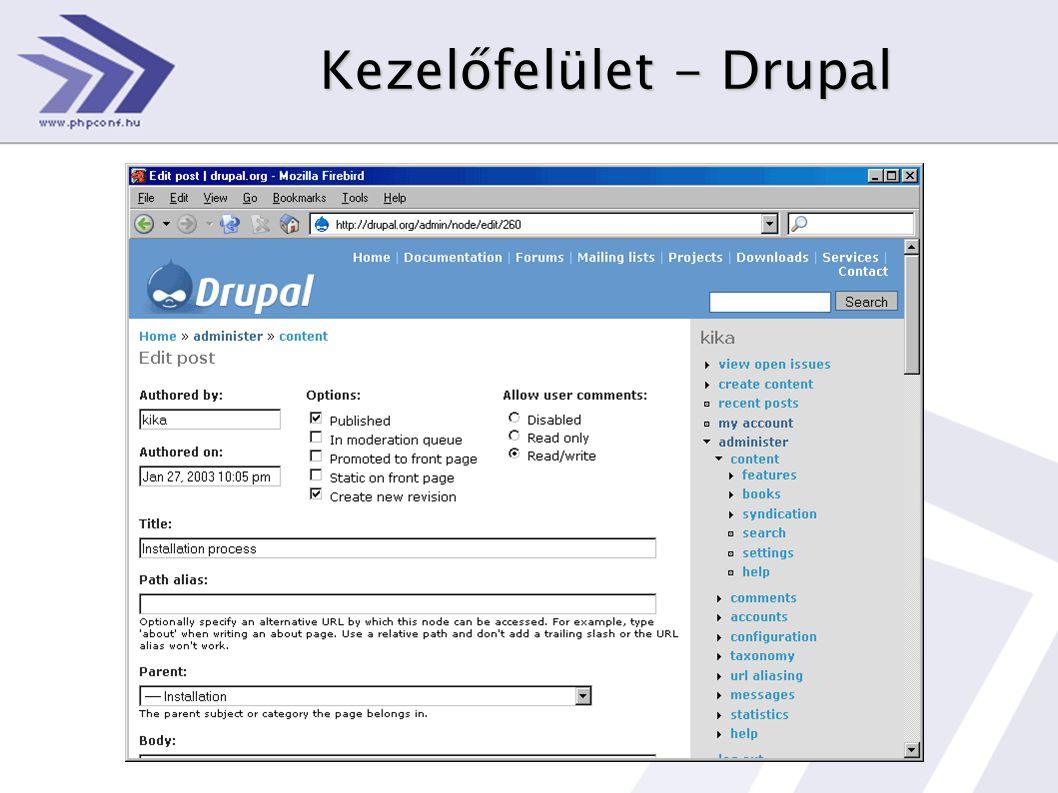 Kezelőfelület - Drupal