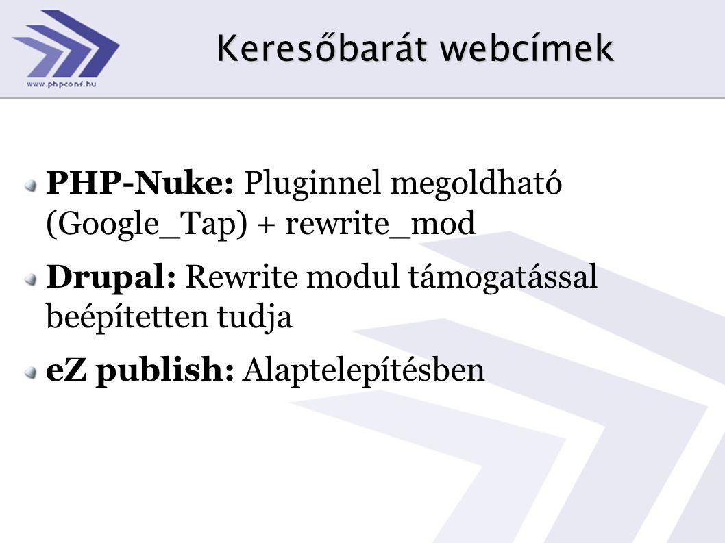 Keresőbarát webcímek PHP-Nuke: Pluginnel megoldható (Google_Tap) + rewrite_mod. Drupal: Rewrite modul támogatással beépítetten tudja.