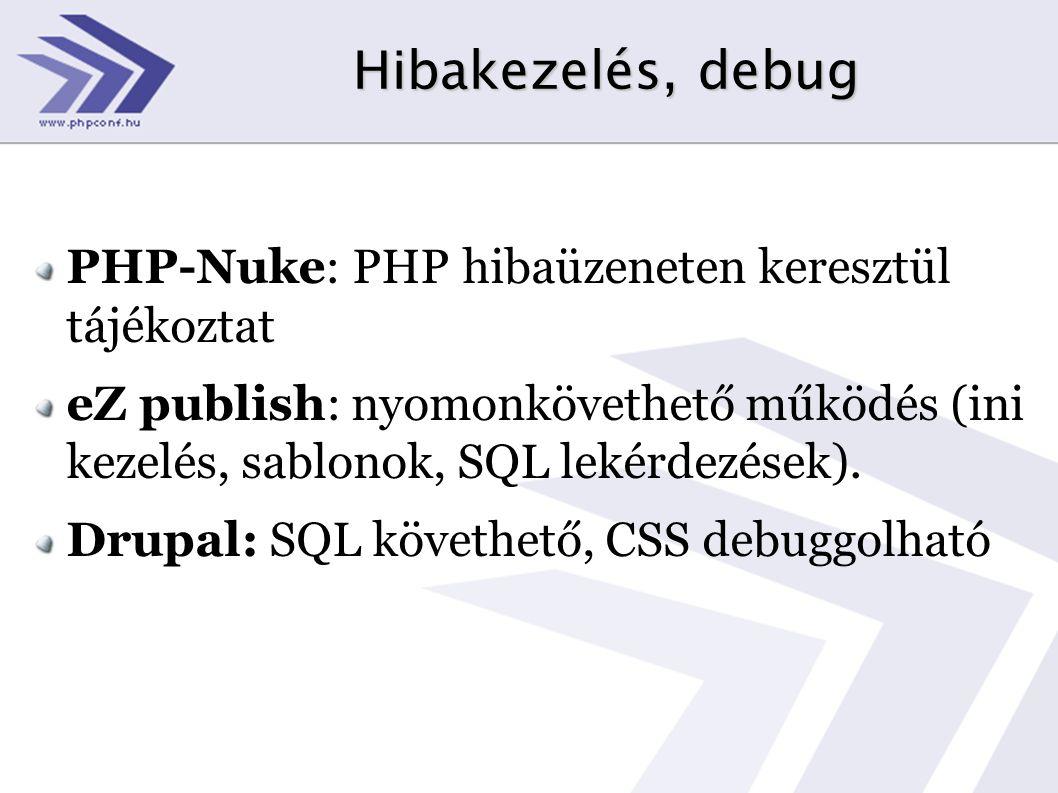 Hibakezelés, debug PHP-Nuke: PHP hibaüzeneten keresztül tájékoztat