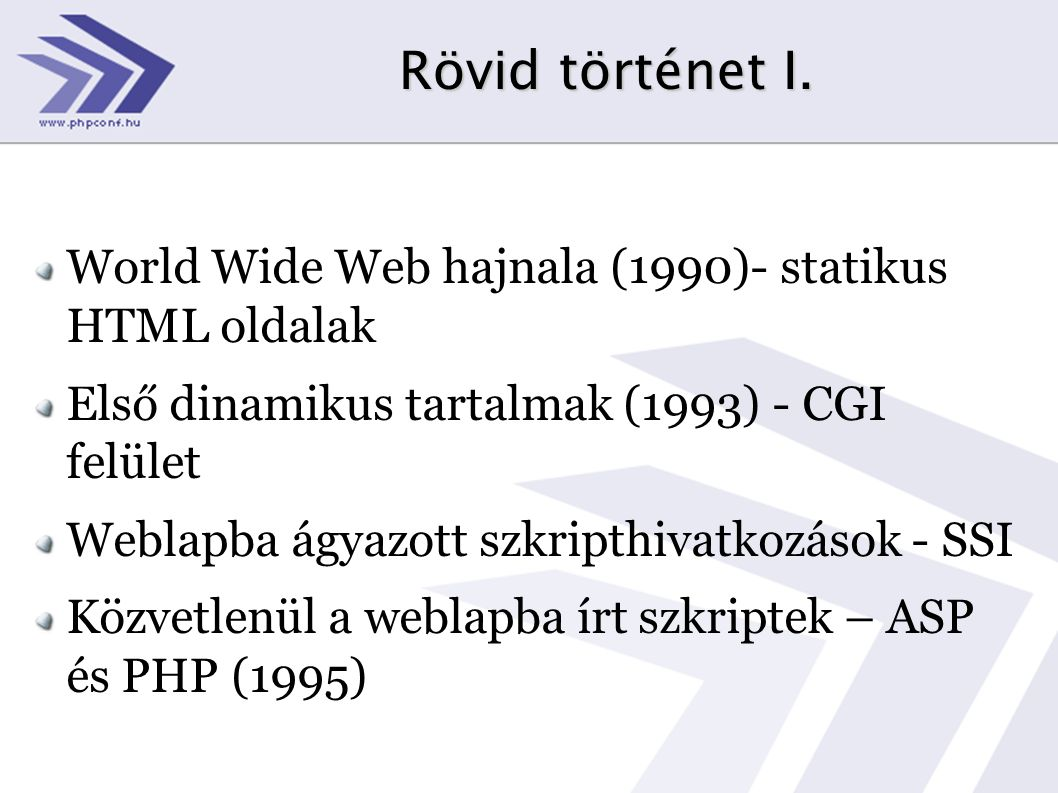 Rövid történet I. World Wide Web hajnala (1990)- statikus HTML oldalak
