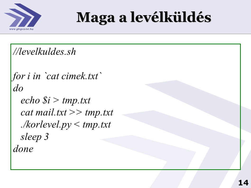 Maga a levélküldés //levelkuldes.sh for i in `cat cimek.txt` do