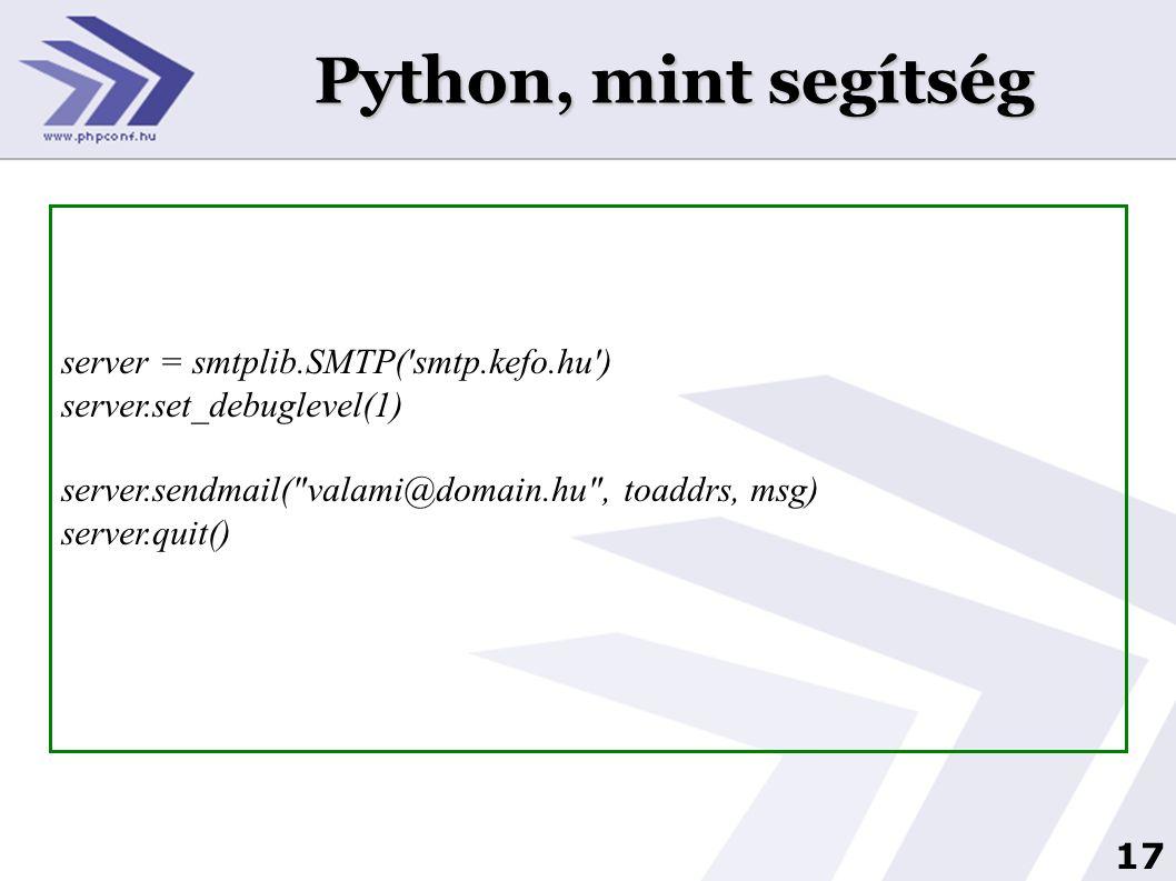Python, mint segítség server = smtplib.SMTP( smtp.kefo.hu )