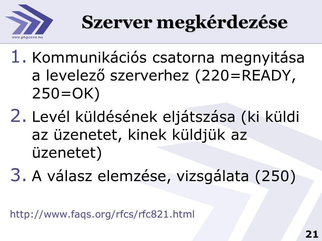 Szerver megkérdezése Kommunikációs csatorna megnyitása a levelező szerverhez (220=READY, 250=OK)