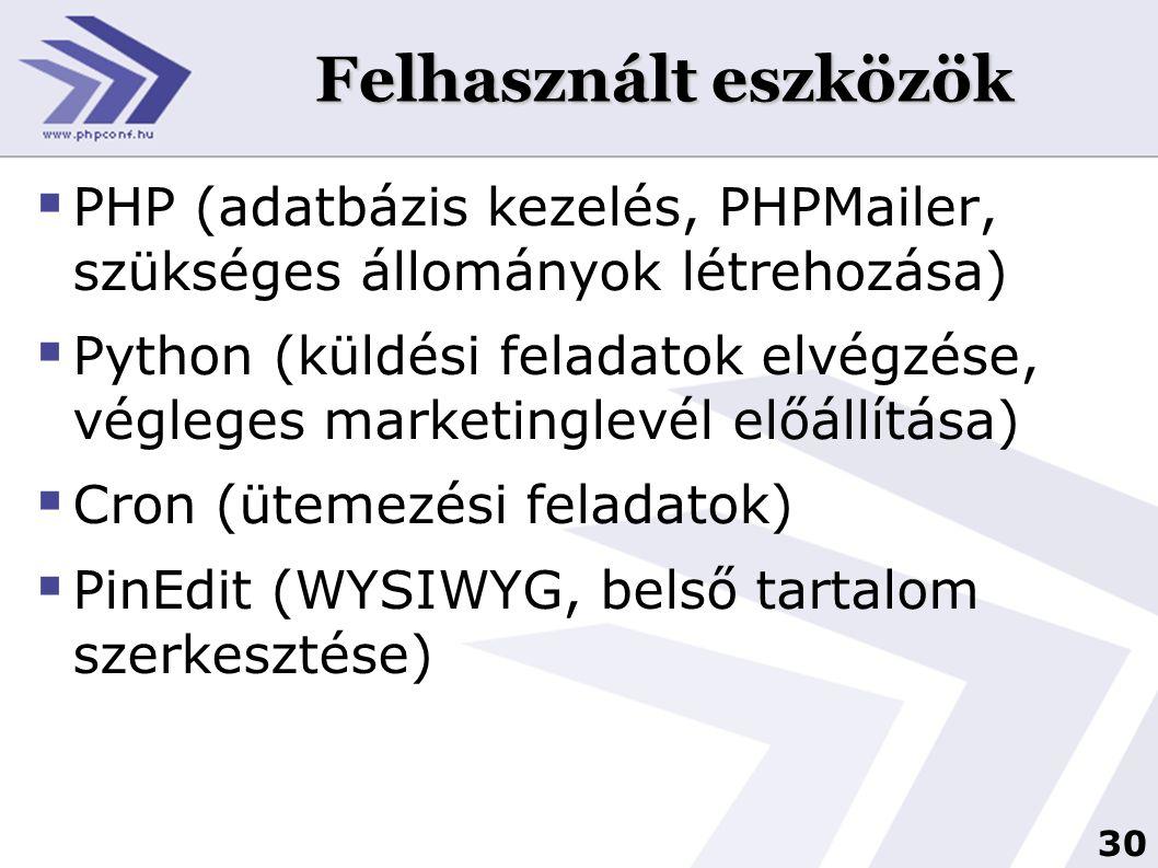 Felhasznált eszközök PHP (adatbázis kezelés, PHPMailer, szükséges állományok létrehozása)