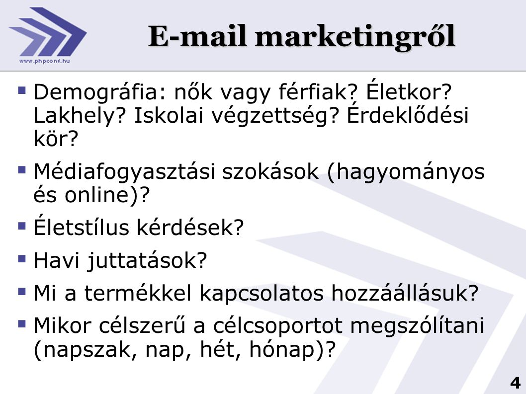 E-mail marketingről Demográfia: nők vagy férfiak Életkor Lakhely Iskolai végzettség Érdeklődési kör