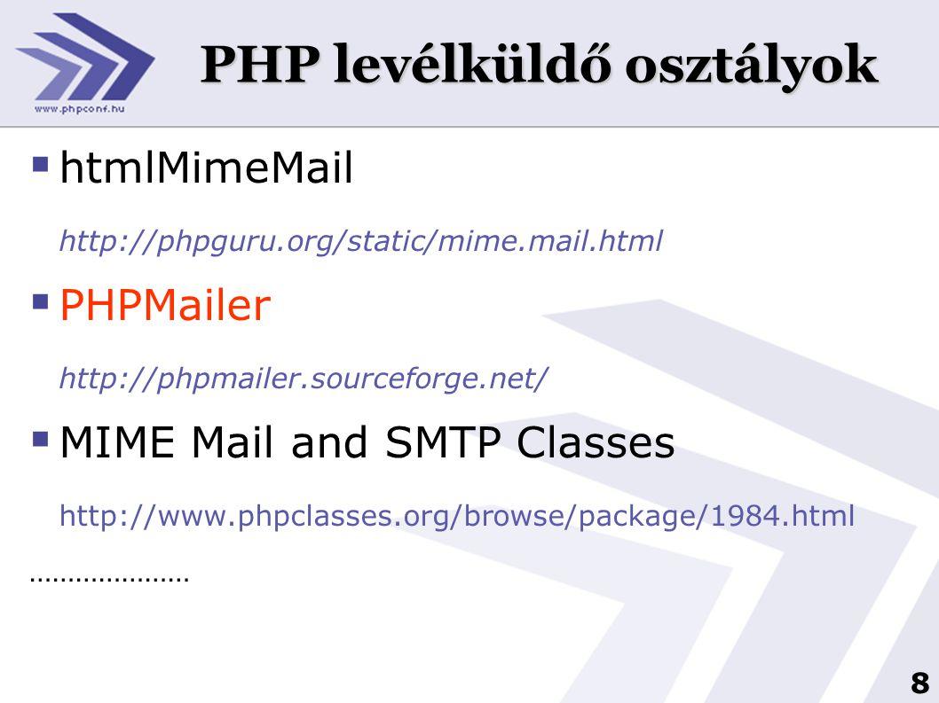 PHP levélküldő osztályok