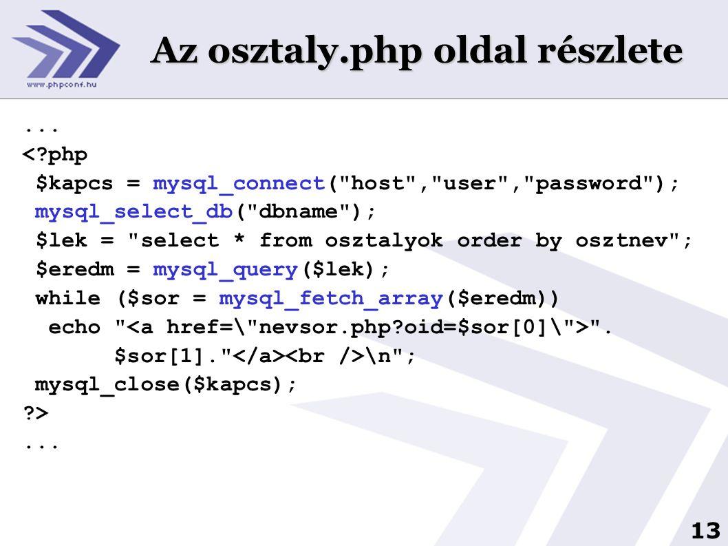 Az osztaly.php oldal részlete