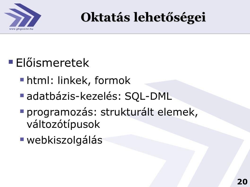 Oktatás lehetőségei Előismeretek html: linkek, formok
