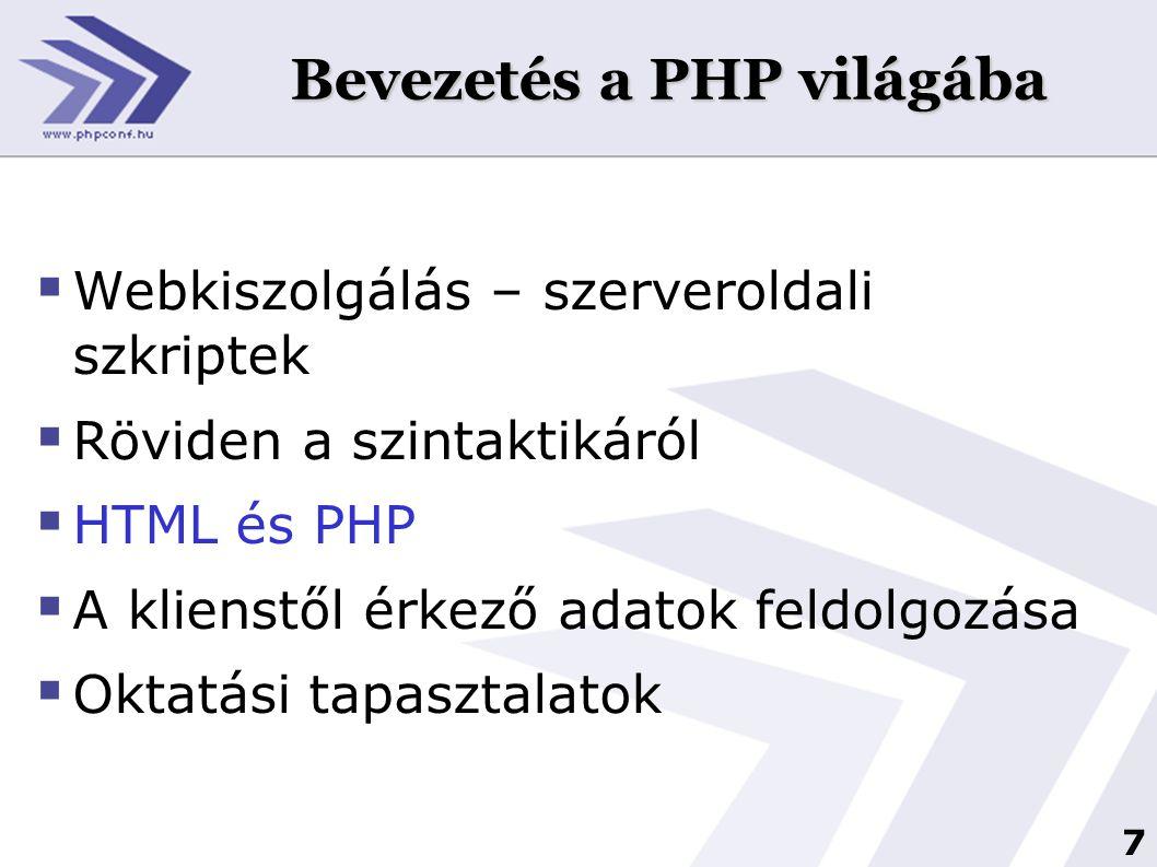 Bevezetés a PHP világába