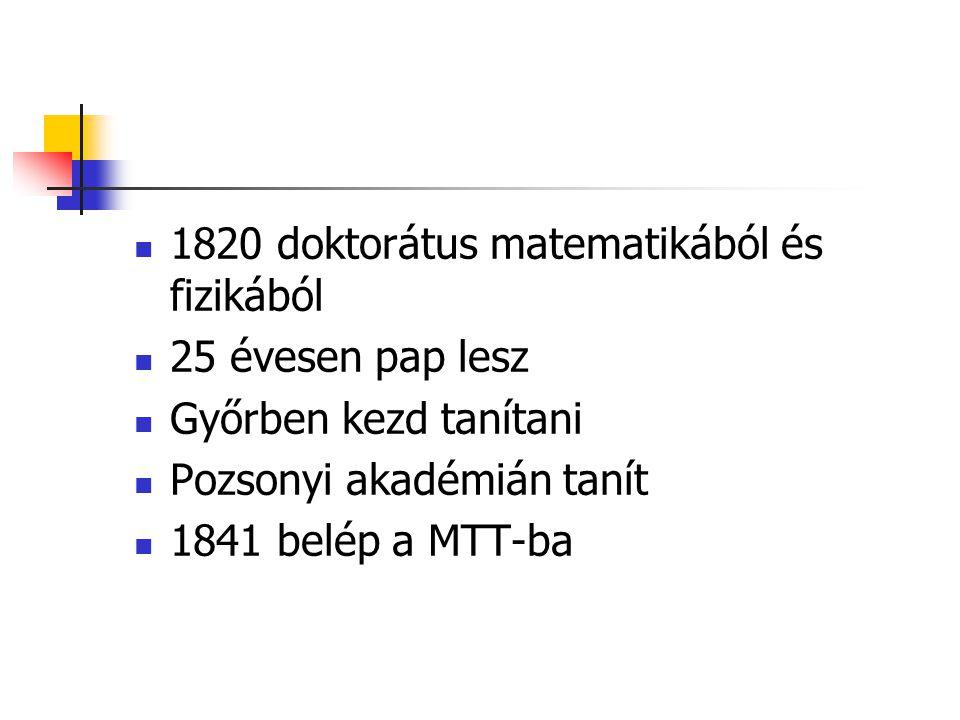 1820 doktorátus matematikából és fizikából