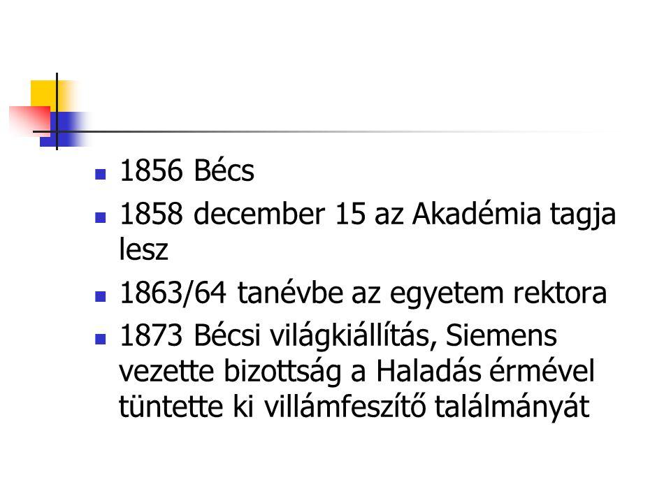 1856 Bécs 1858 december 15 az Akadémia tagja lesz. 1863/64 tanévbe az egyetem rektora.