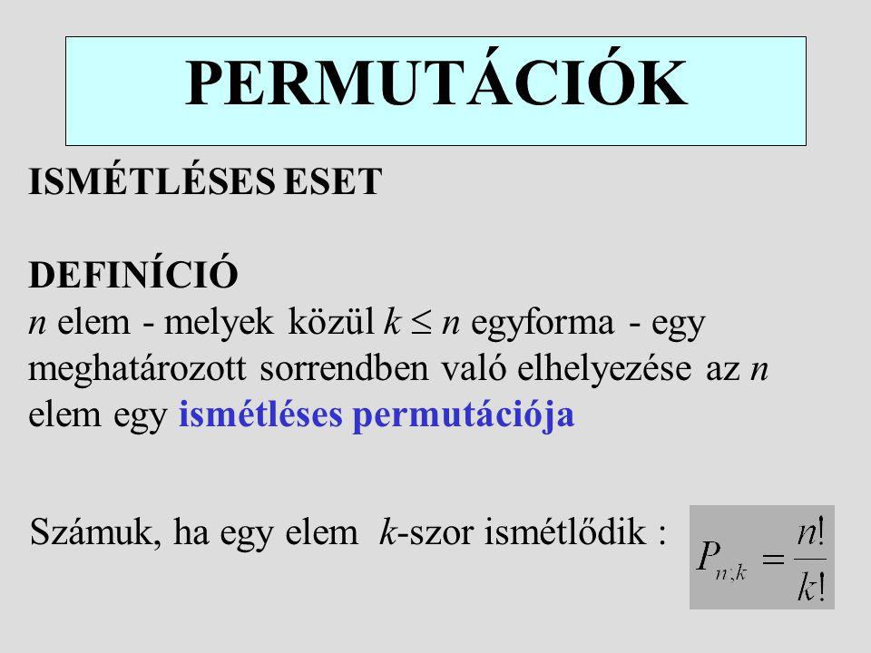 PERMUTÁCIÓK ISMÉTLÉSES ESET DEFINÍCIÓ