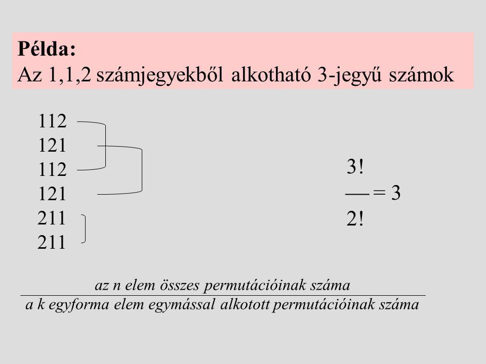 Az 1,1,2 számjegyekből alkotható 3-jegyű számok