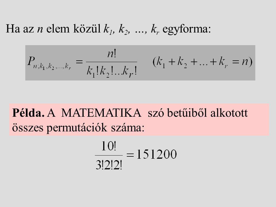 Ha az n elem közül k1, k2, …, kr egyforma: