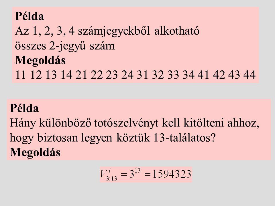 Példa Az 1, 2, 3, 4 számjegyekből alkotható. összes 2-jegyű szám. Megoldás. 11 12 13 14 21 22 23 24 31 32 33 34 41 42 43 44.