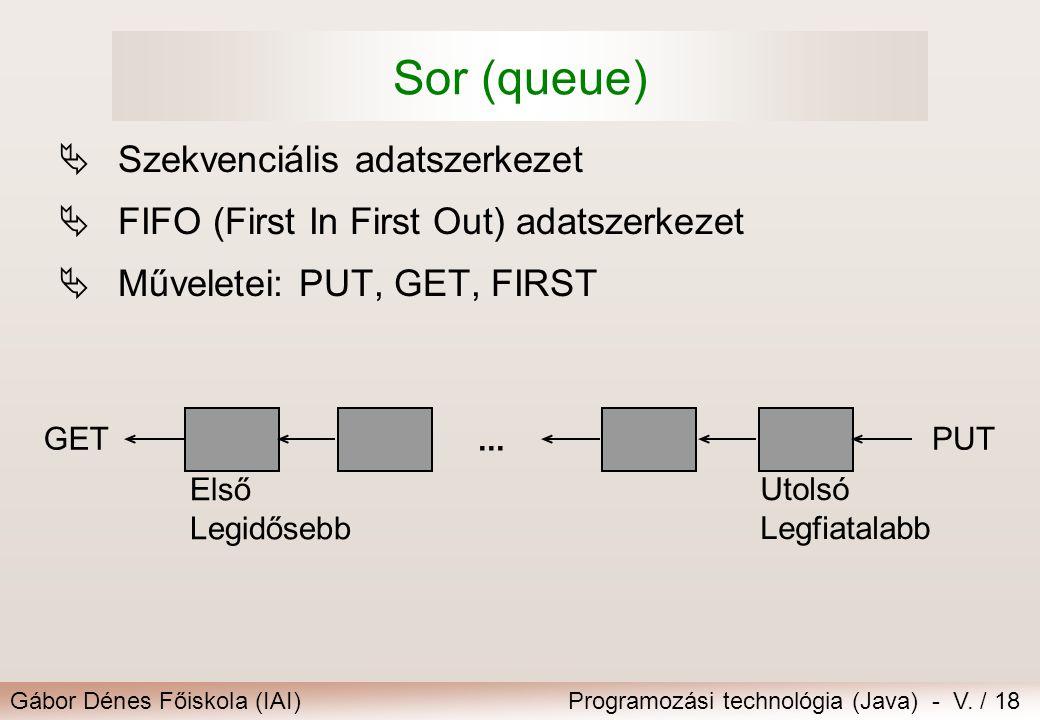 Sor (queue) Szekvenciális adatszerkezet