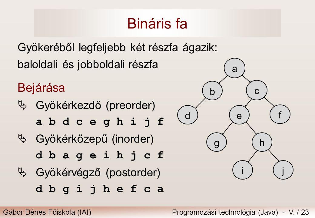 Bináris fa Bejárása Gyökeréből legfeljebb két részfa ágazik:
