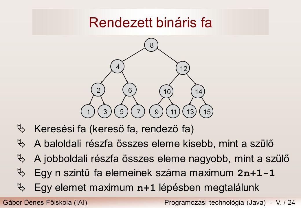 Rendezett bináris fa Keresési fa (kereső fa, rendező fa)