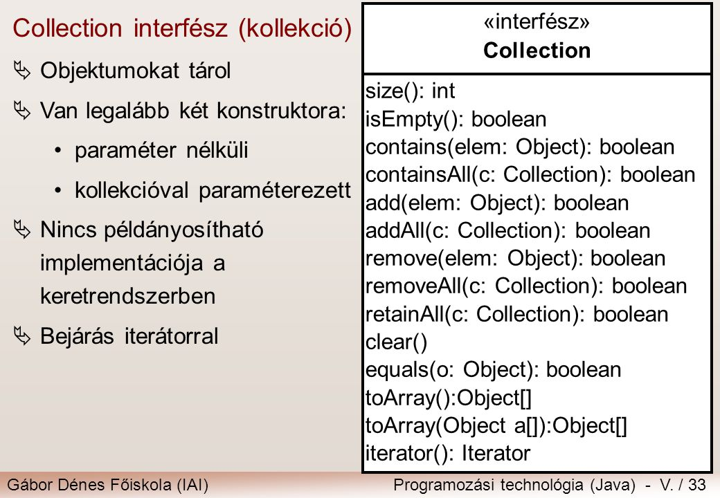 Collection interfész (kollekció)