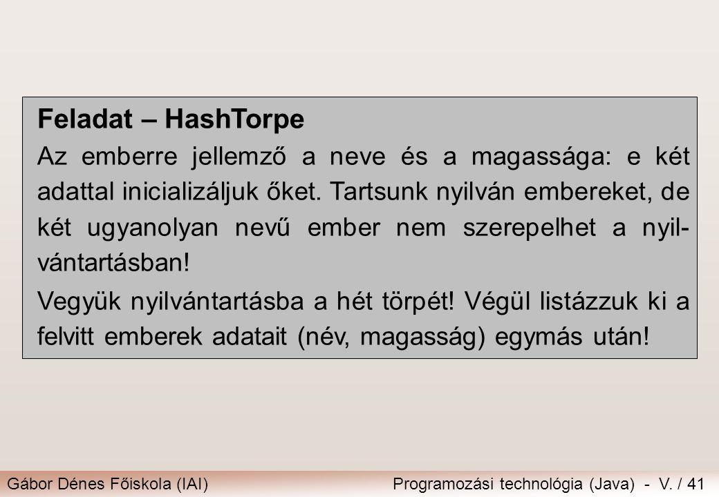 Feladat – HashTorpe