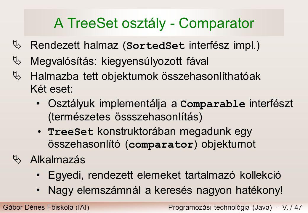 A TreeSet osztály - Comparator