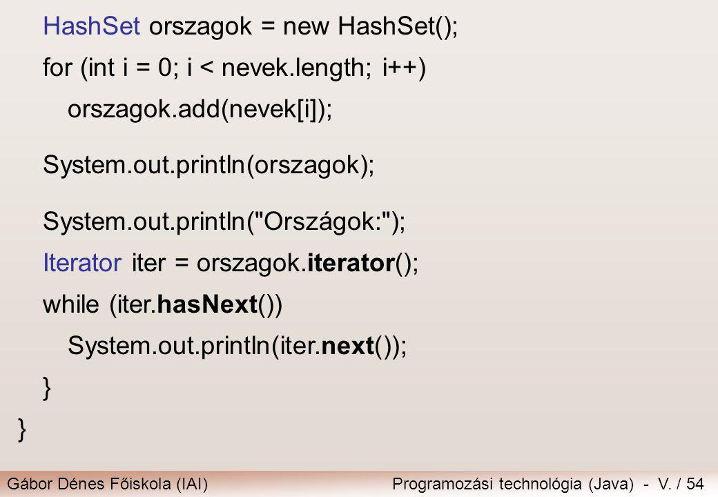 HashSet orszagok = new HashSet();