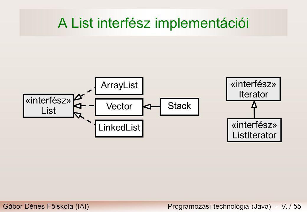 A List interfész implementációi