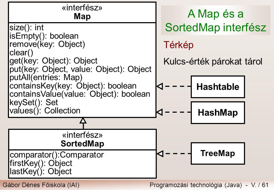 A Map és a SortedMap interfész