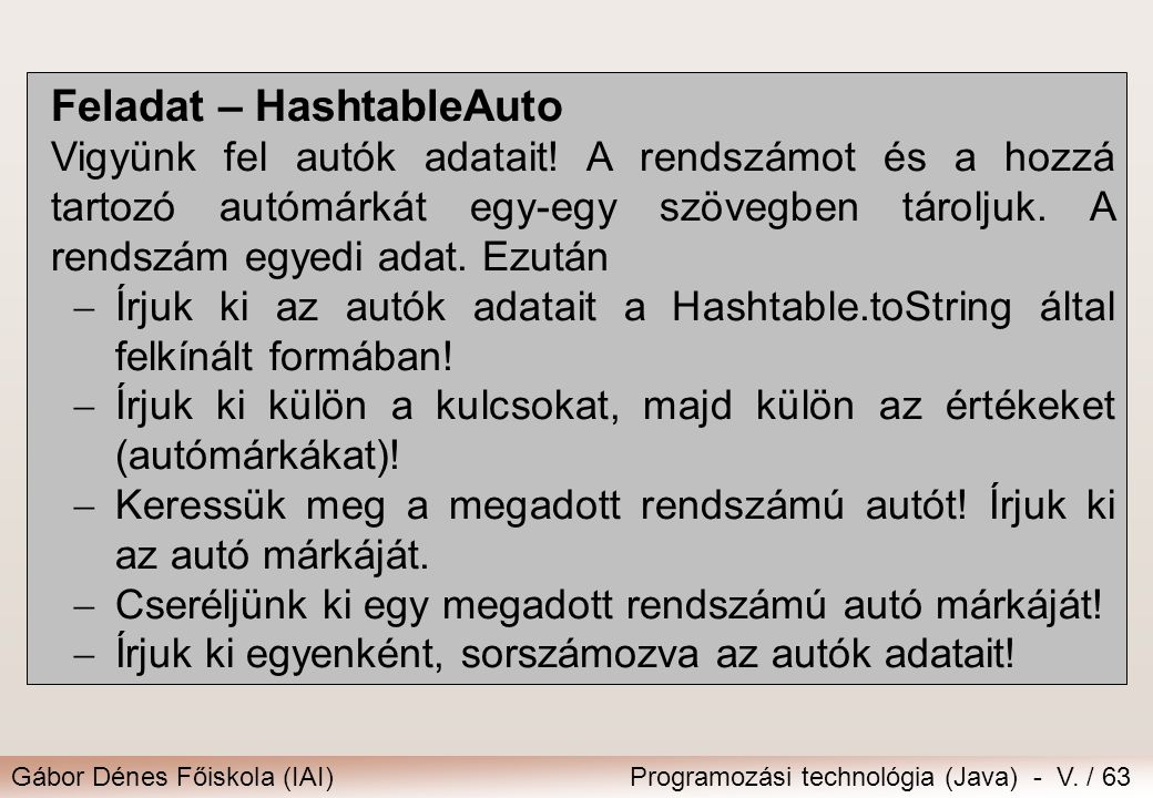 Feladat – HashtableAuto